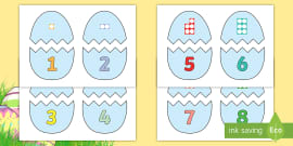 Easter Egg Number Shapes to 10 Matching Game