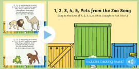 1, 2, 3, 4, 5, Pets from the Zoo Song PowerPoint