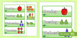 Days of the Week Word Cards to Support Teaching on The Very Hungry Caterpillar