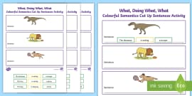 picture relating to Printable Sentence Strips referred to as Colorful Semantics Sentence Strips Worksheet