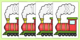 Numbers 0-20 on Trains
