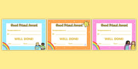 Good Friend Certificates