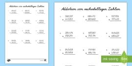 NEW * Addition mit dreistelligen Zahlen Arbeitsblatt