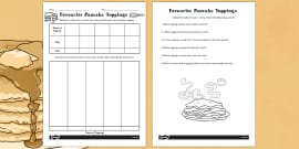 Favourite Toppings Tally Chart and Pictogram with Questions