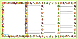 Fruit and Vegetables Themed A4 Page Borders