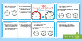 Year 2 Time Forwards and Backwards Challenge Cards