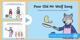 Poor Old Mr Wolf Song PowerPoint to Support Teaching on Mr Wolf's Pancakes