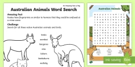 Australian Animals Word Search