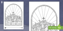 * NEW * Nativity Stained Glass Window Activity Sheet