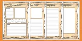 Magic Potion Writing Activity Sheet
