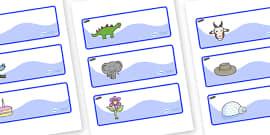Tadpoles Themed Editable Drawer-Peg-Name Labels
