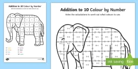 Addition To 10 Colour By Numbers Sheet to Support Teaching on Elmer
