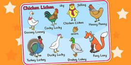 Chicken Licken Character Word Mat