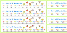 FREE! - Numbers 0-30 on a Number Line - Counting, Numberline, Number ...
