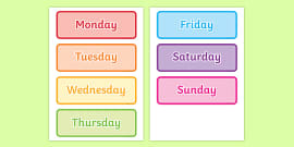 Days of the Week Word Cards