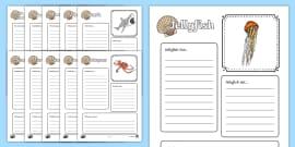 Sea Creatures Factfile Activity Sheets (Under the Sea)