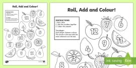 Fruit Roll and Colour Dice Addition Activity