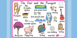 The Owl and The Pussycat Word Mat