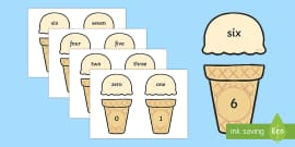 Ice Cream Cone Number and Word Matching Activity