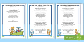 KS1 The Owl and the Pussy-Cat Poem Differentiated Reading Comprehension Activity