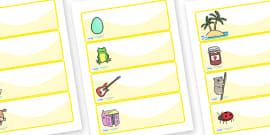 Editable Drawer - Peg - Name Labels (Set 1) - Yellow