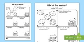 Deutsch-Arabisches Der Jahreszeiten Baum Arbeitsblatt: Lesen und