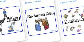 Snowflake Themed Editable Square Classroom Area Signs (Plain)
