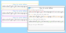 Australia - How to Write Letters Strips: Top, Middle, Bottom