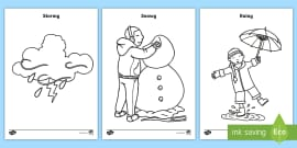 * NEW * Weather Colouring Pages