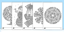 Winter Themed Mindfulness Colouring Sheets