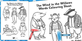The Wind in the Willows Words Colouring Sheet
