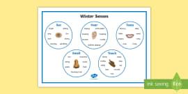 Winter Senses Word Mat