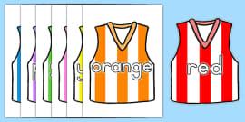 AFL Australian Football League Colour Names on AFL Football Vests