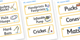 Sunshine Themed Editable PE Resource Labels