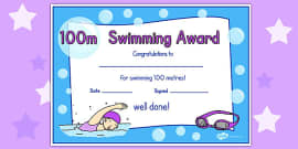 100m Swimming Certificate