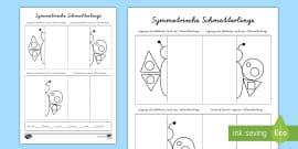 Schmetterling Symmetrie: Muster übertragen Arbeitsblatt