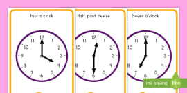 us-t-2549082-oclock-and-half-past-time-display-posters_ver_2 O Clock Worksheet Cut And Stick on numbers for kids, first grade sentence structure, numbers put order for kids,