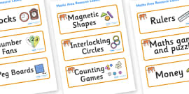 Tiger Themed Editable Maths Area Resource Labels