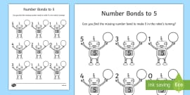 Number Bonds to 5 on Robots Activity Sheet
