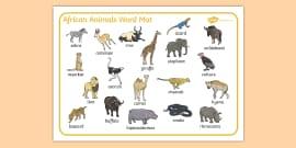 African Animals Word Mat
