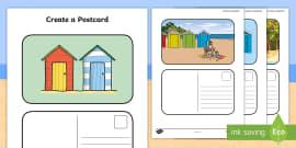 Create a Postcard Beach Hut Themed  Writing Template
