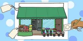 Blank Price Tags and Shop Front Role Play Game