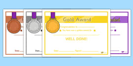 Gold Silver Bronze Certificates Gold Silver Bronze