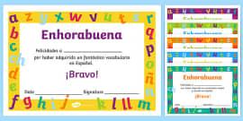 Spanish award certificate spanish award certificate spanish spanish end of year vocabulary award certificate spanish espaol yadclub Image collections