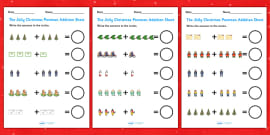 Up to 10 Addition Sheets to Support Teaching on The Jolly Christmas Postman