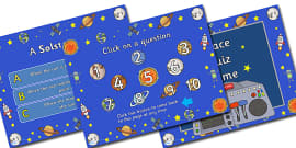 Space Quiz Multiple Choice Game PowerPoint