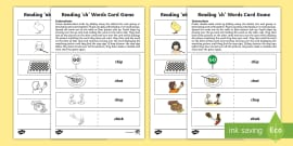 Reading 'ch' Words Card Game