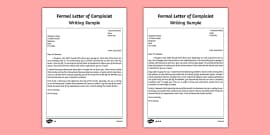 How to write a letter of complaint writing sample complaint formal letter of complaint writing sample spiritdancerdesigns Images