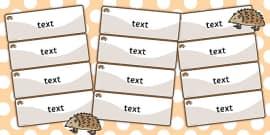 Hedgehog Themed Editable Drawer-Peg-Name Labels (Colourful)