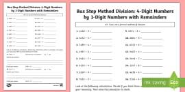 Bus Stop Method Formal Division of 3 Digit Numbers Worksheet / Worksheet
